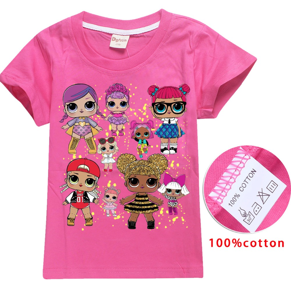 2018 NEW ARRIVAL Cute lol T Doll T-shirts Summer Top O-neck 100% Cotton Girls Clothes Kids tshirt Cartoon Teen Summer Clothing ...