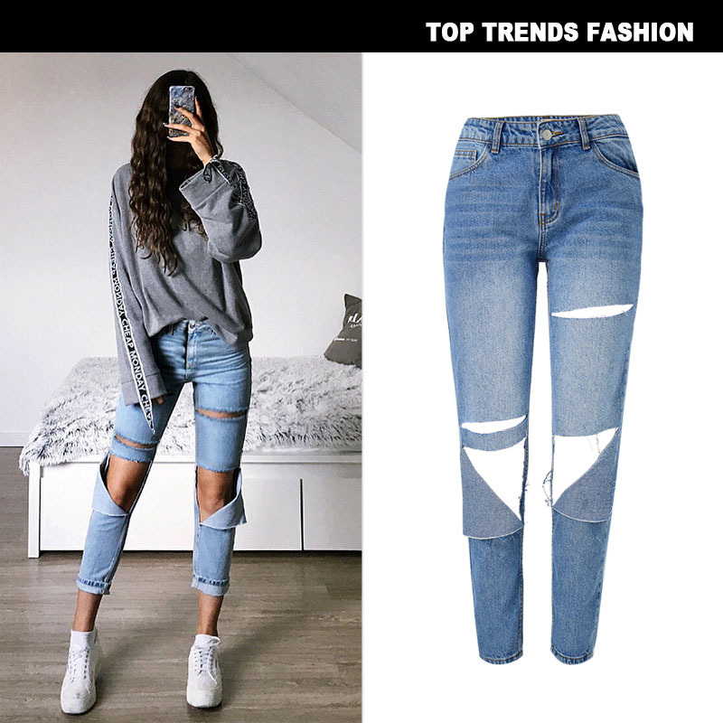 Winter Fashion Bleached Female Boyfriend   Jeans   For Women Blue High Waist Denim Loose Ladies Skinny   Jeans   Woman Ripped   Jeans