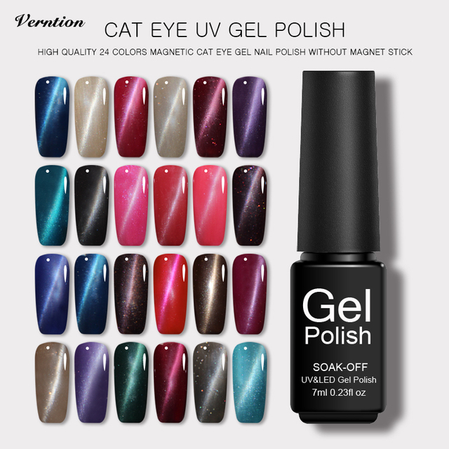 Verntion 24 Colors Metal Cat Eye Gel Polish Magnetic Gel Nail Polish ...