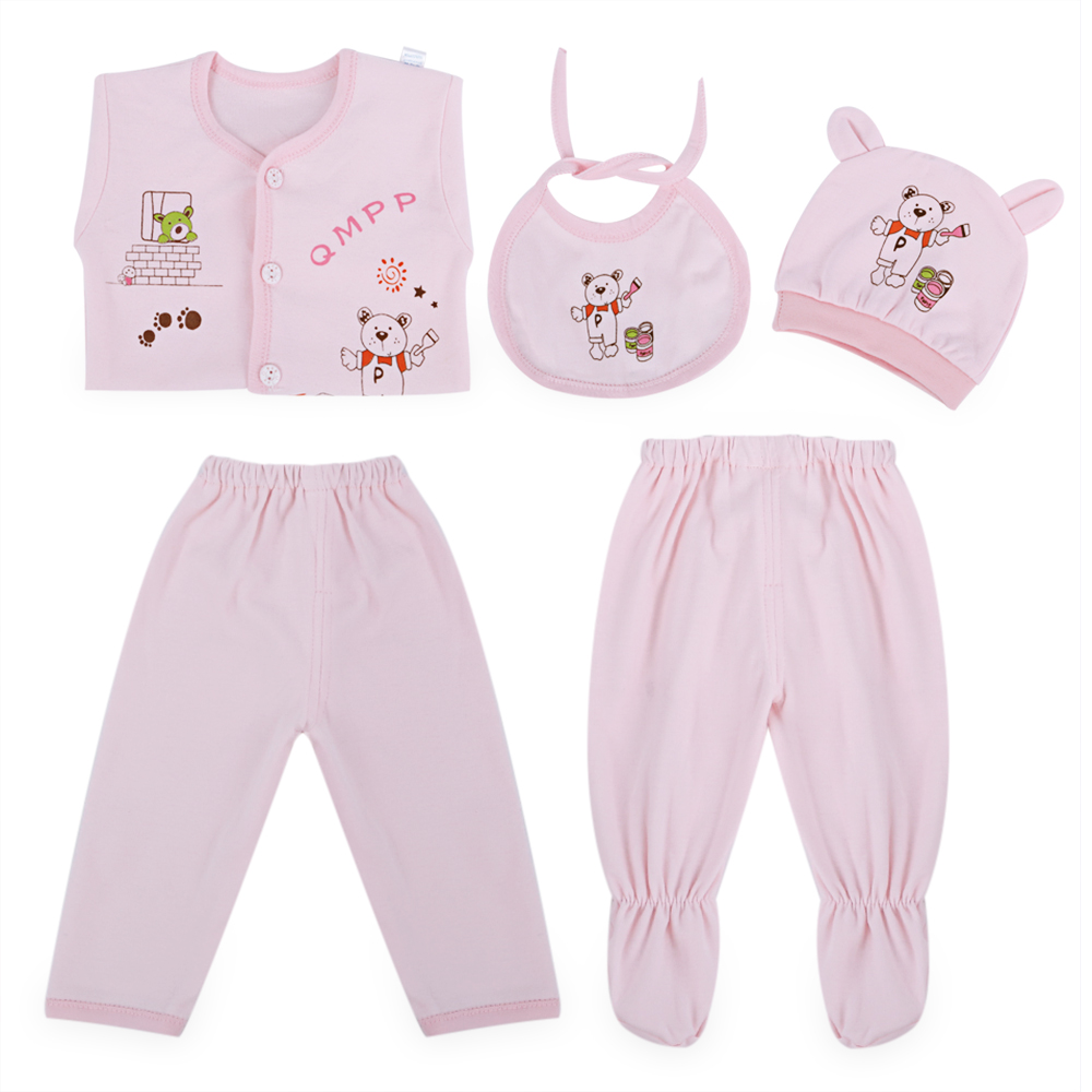 5Pcs Newborn Baby Girls Boys Clothing Set 100% Cotton Enfant Baby Set Kids Cute Cartoon Print Candy Color Babies Toddler Suit