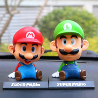 Funny SUPER MARIO BROS Car Dolls Head Shaking Toy Model Lovely Car Ornaments Munecas Coche Interior