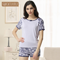 Qianxiu Casual And Comfortable Home Pajamas With Short Sleeves For Women