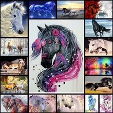 Animal Two Horse 5D Diy Diamond Painting Embroidery Color horse Rhinestones Paint Mosaic  diamante