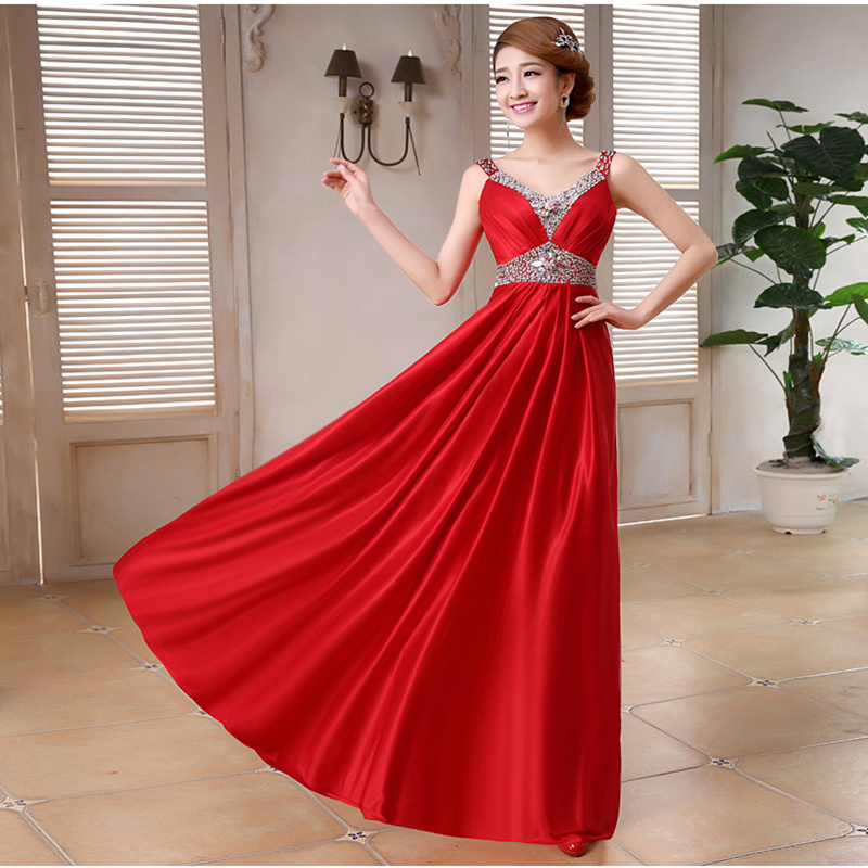 Long V Neck   Evening     Dress   Party   Dress   For Wedding Sexy Sling Sleeveless Rhinestones Open Back Prom   Dresses   Formal Gowns