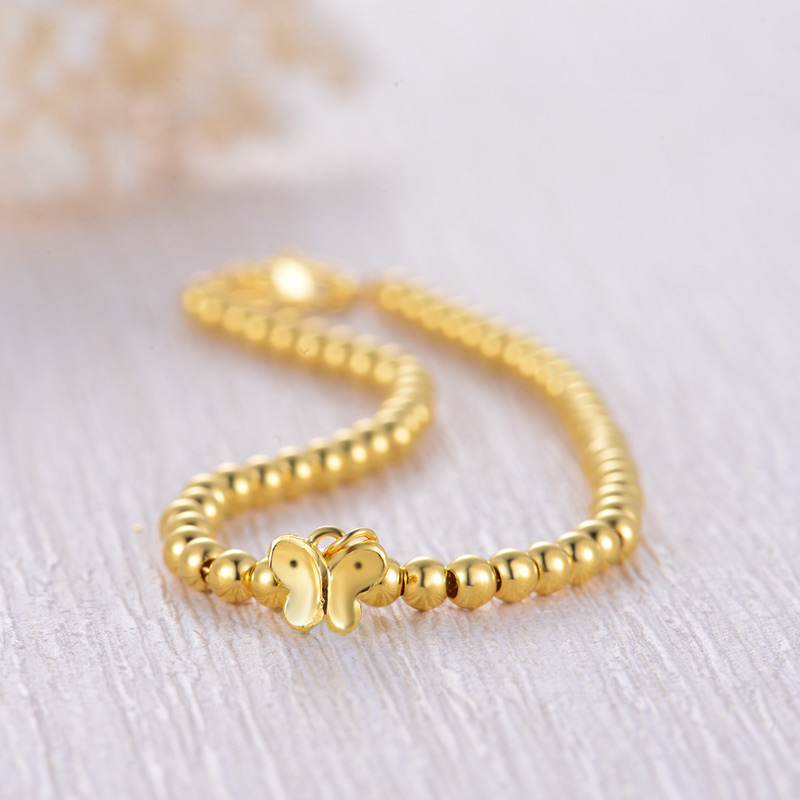 Zzz 24k Pure Gold Bracelets Clic Ball Erfly Simple Beautiful Bangle Chain Link Party Real 999 Solid Women In Bangles From