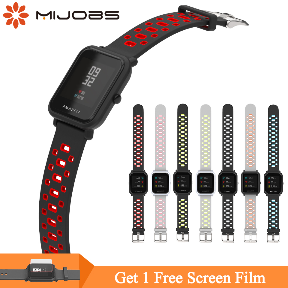 Mijobs 20mm Sports Silicone Wrist <font><b>Strap</b></font> for Xiaomi Huami <font><b>Amazfit</b></font> GTS Bip BIT PACE <font><b>Lite</b></font> Youth Smart Watch Wristbands Bracelet image