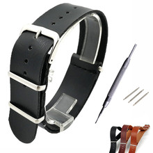 18mm 20mm 22mm Leather Watch Band For NATO ZULU Straps Upscale Black Brown green men Strap