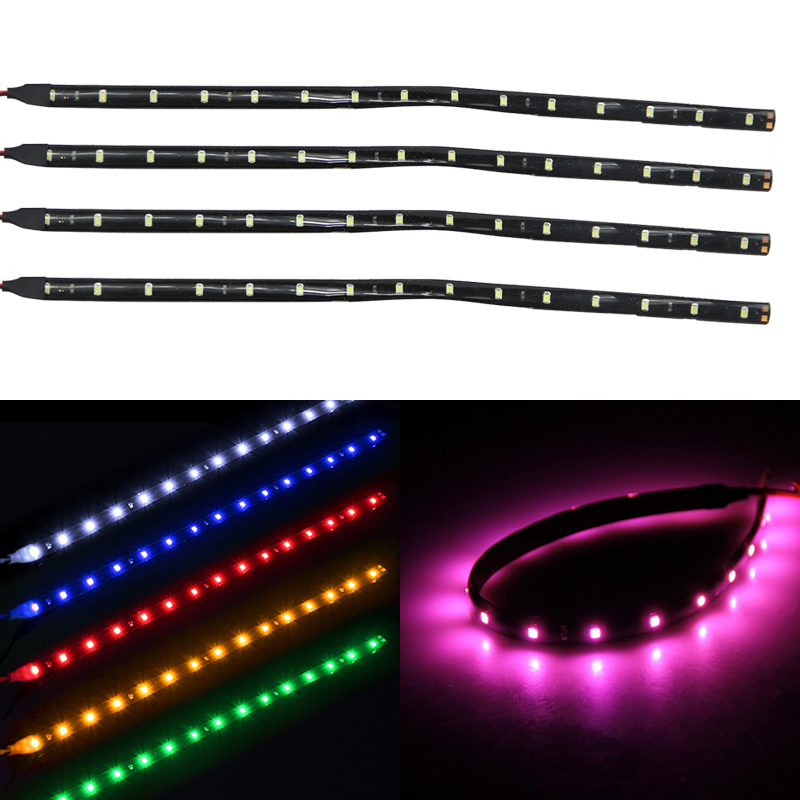 4PCs 30CM 15 Led Flexible Strips Light Bar Blue/Green/Red/White/Pink/Yellow Waterproof Car Motorcycle Led Strip Undercar Lamp