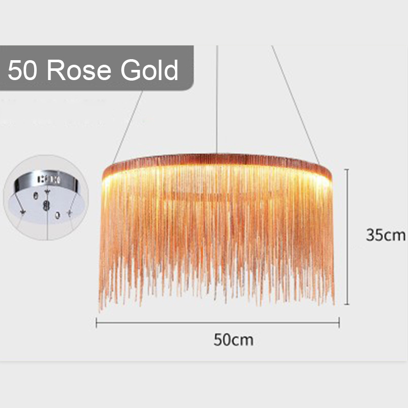 IKVVT роскошные подвесные светильники золотистого и серебряного цвета, круглые лампы с кисточками, Алюминиевый металлический корпус для гостиной, отеля, современные домашние лампы - Цвет корпуса: Dia50cm Rose Gold
