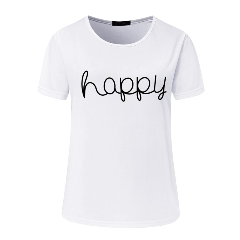 6644aa9ef98 Korean Style Summer Female T shirt Casual Lady Brand Tops Tee Happy Letter  Print Women s T Shirts Loose T Shirt Camisetas Mujer-in T-Shirts from  Women s ...