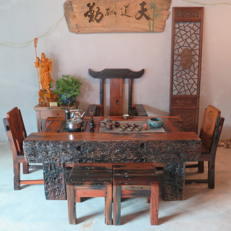 Wood Combo Chair: Old Wood Furniture Tea Table Keel Combination Of Big And