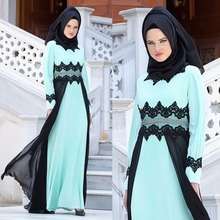 2017 Simple Elegant Muslim Evening Dresses Hijab High Neck Black Lace appliques Prom Dress with Long sleeves robe de soiree