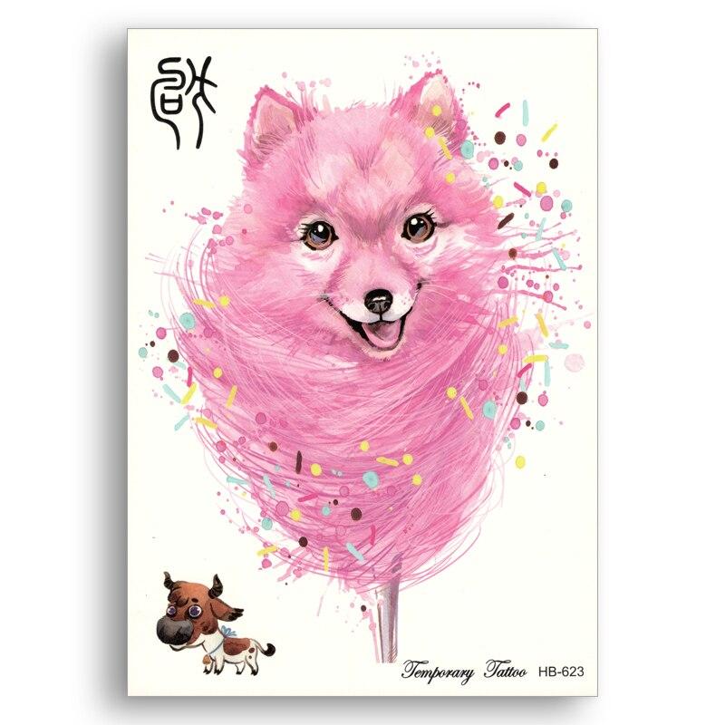 Glitter Fake Tattoo-aufkleber Wassertransfer Wasserdicht Chinesischen Zodiacs Rosa Hund Blume Arm Frauen Männer Nette Körper Kunst 100% Garantie