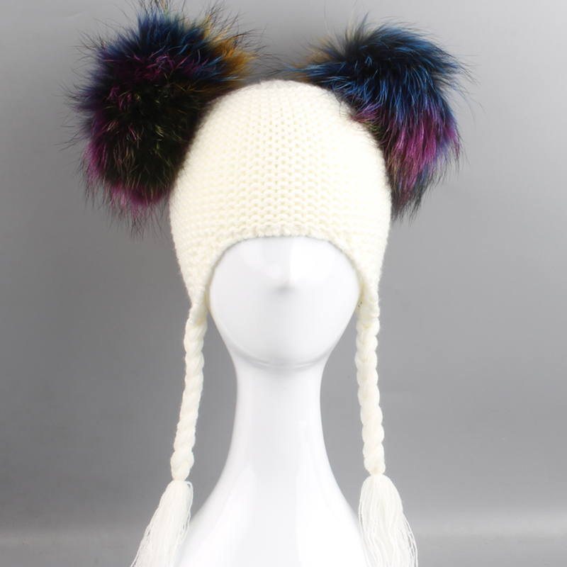 Kids Fur Pom Pom Hat Children Winter Cap For Girls Boys pompones de colores   Skullies     Beanies   Ears Protection Baby