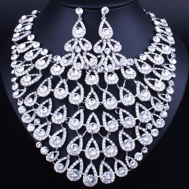 Sistemas de La Joyería nupcial de La Boda Accesorios de Cristal Plateado del Oro Collar Pendiente Para la Fiesta de Las Novias Decoración de Las Mujeres