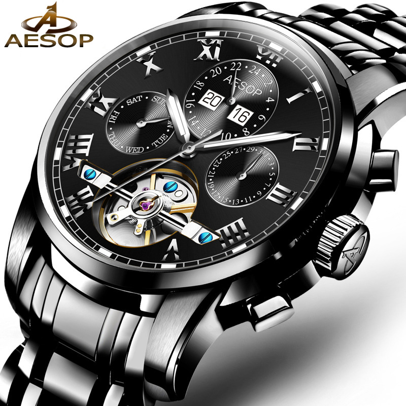 AESOP Watch Men Reloj Luxury Automatic Mechanical Wristwatch Shockproof Waterproof Hollow Male Clock Ceasuri Relogio Masculino aesop brand fashion watch men automatic mechanical wristwatch blue male clock shockproof waterproof relogio masculino ceasuri 46