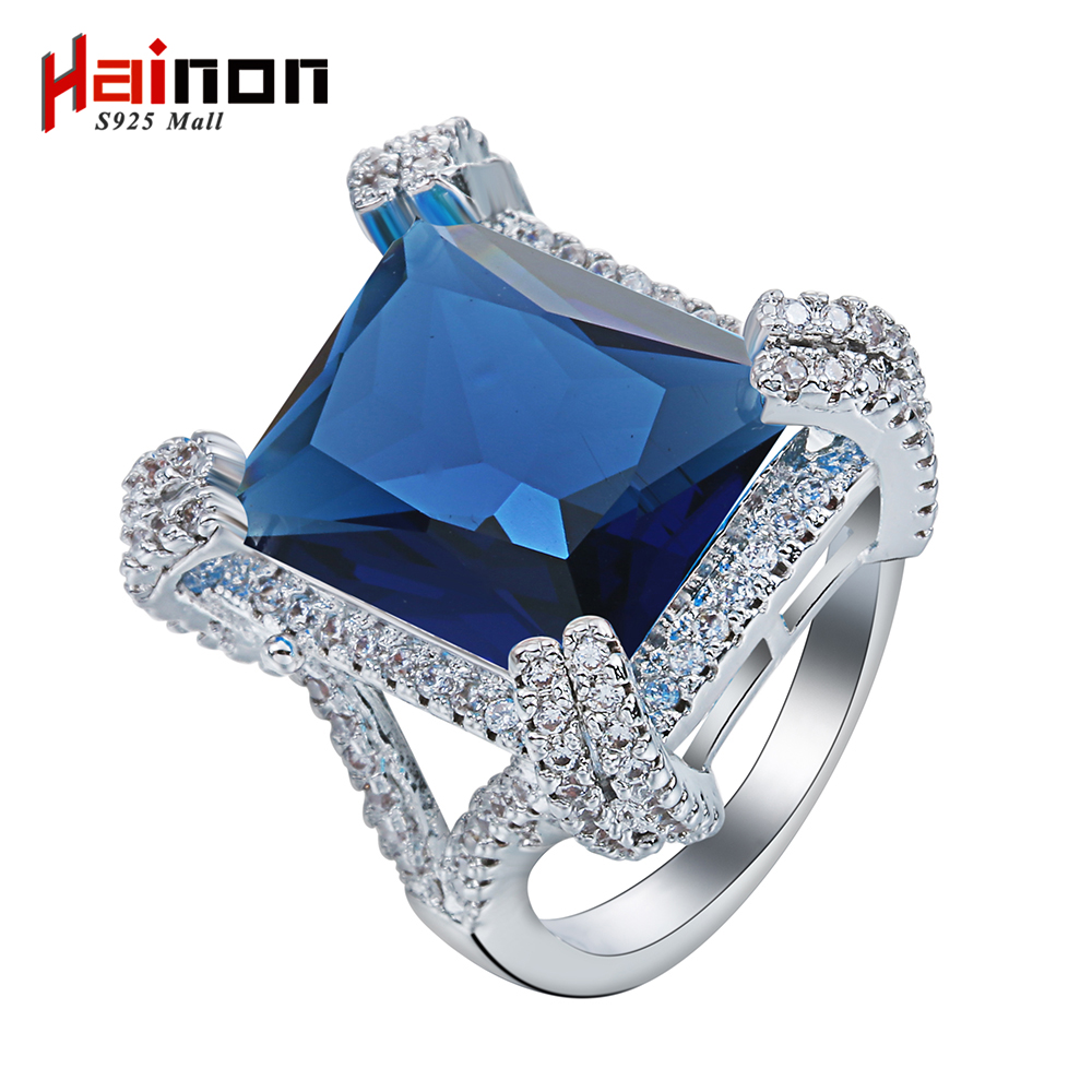 silver plated rings for women wedding engagement gift wholesale luxury vintage 2016 large crystal blue Czech zircon jewelry