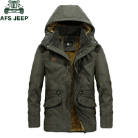 AFS JEEP Brand Parka Men Winter Jacket Fleece Thick Warm Casual men's jacket Big Size M 3XL Multi pocket Military Mens Jackets