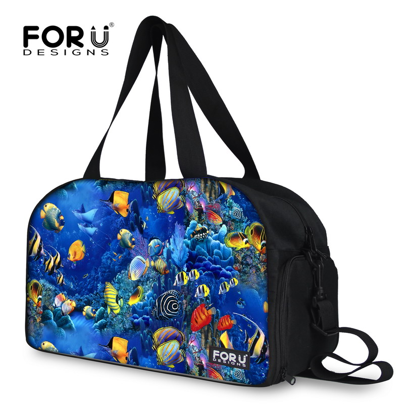 New Brand Casual Fish Print Women Shoulder Bags For Male Female Durable High Quality large Messenger Duffle Bags FORUDESIGNS