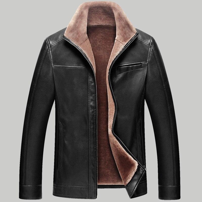 Fashion 2015 Fleece Lining Leather Jacket Men Winter Thicken Faux ...