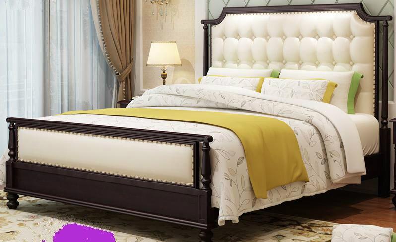 Solid Wood Bed, American Style Solid Wood Bed, Double Bed, 1.5/1.8 Meter enhanced version of european style metal bed iron bed double bed pastoral style student bed 1 5 meters 1 8 meters