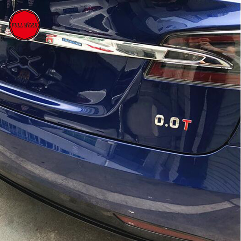 Car Rear Sticker Zinc Alloy Number Letter Emblem Decorator with 3M for Tesla Model S Model X Exterior Accessories (1 Set) decorator
