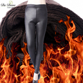 De Dove imitation leather plus velvet winter leggings plus size wholesale pants big yards 5XL thicken warm