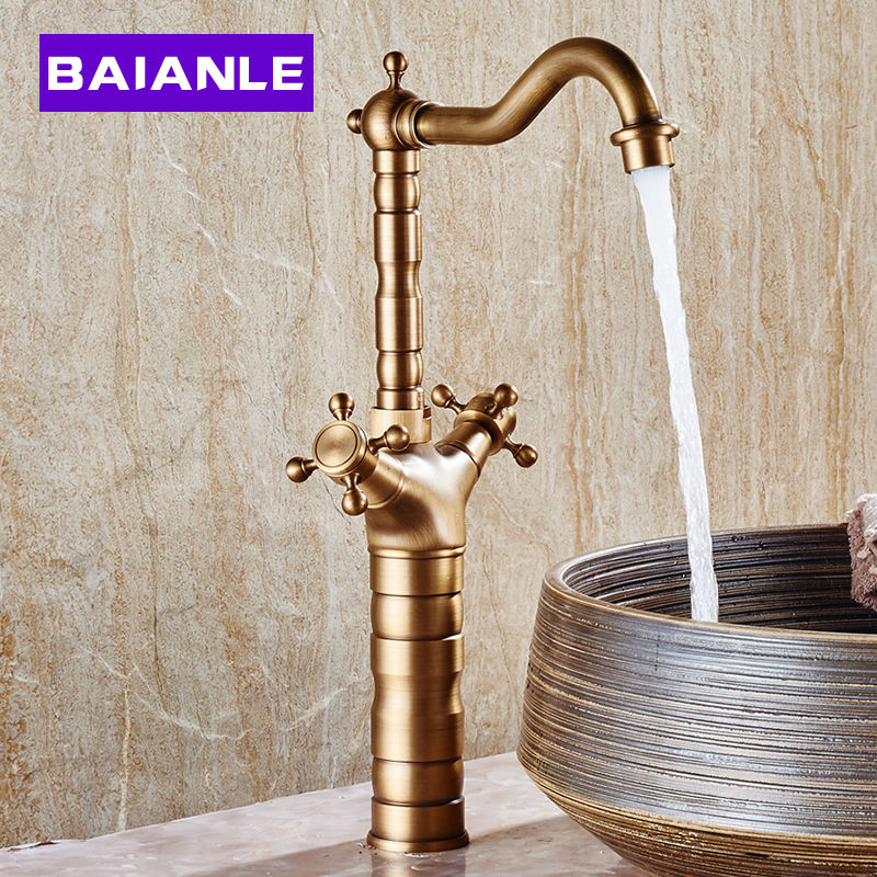 Heightening Antique Basin Faucet Hot and Cold Counter Double Handle Single Holes Bathroom Mixer Taps Retro Copper Rotatable european antique faucet full copper faucet hole washbasin faucet bathroom hot and cold taps