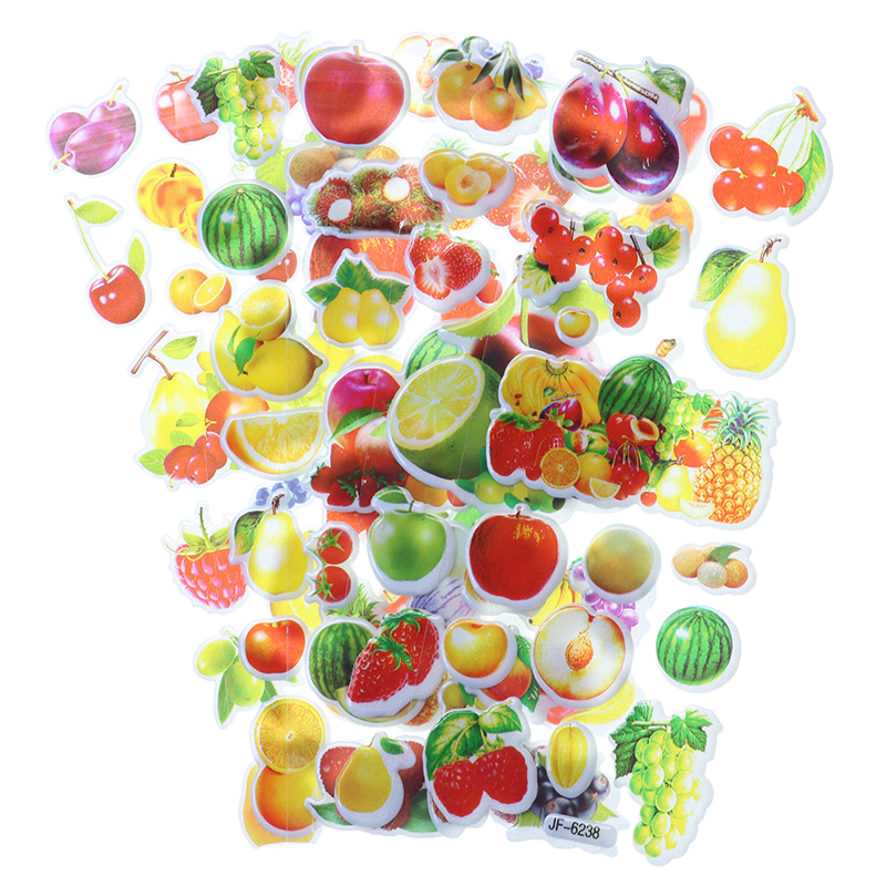 10pcs Cartoon Fruit Bubble Sticker Mobile Phone Album Notebook Decorative Stickers Children Stationery Stickers (Style Random)