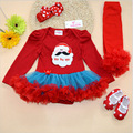 Rushed Animal Baby Girls Novelty Body Baby 4pcs/lot 2016 Romper Girl Suits 4piece Set Infant Clothing Sets;1st Birthday Outfits