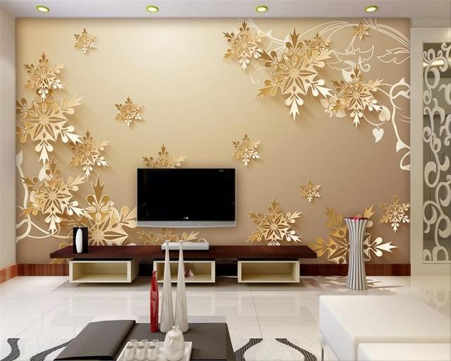 Fiocchi Di Neve Di Carta 3d : Beibehang carta da parati per pareti d d tagliare la carta oro