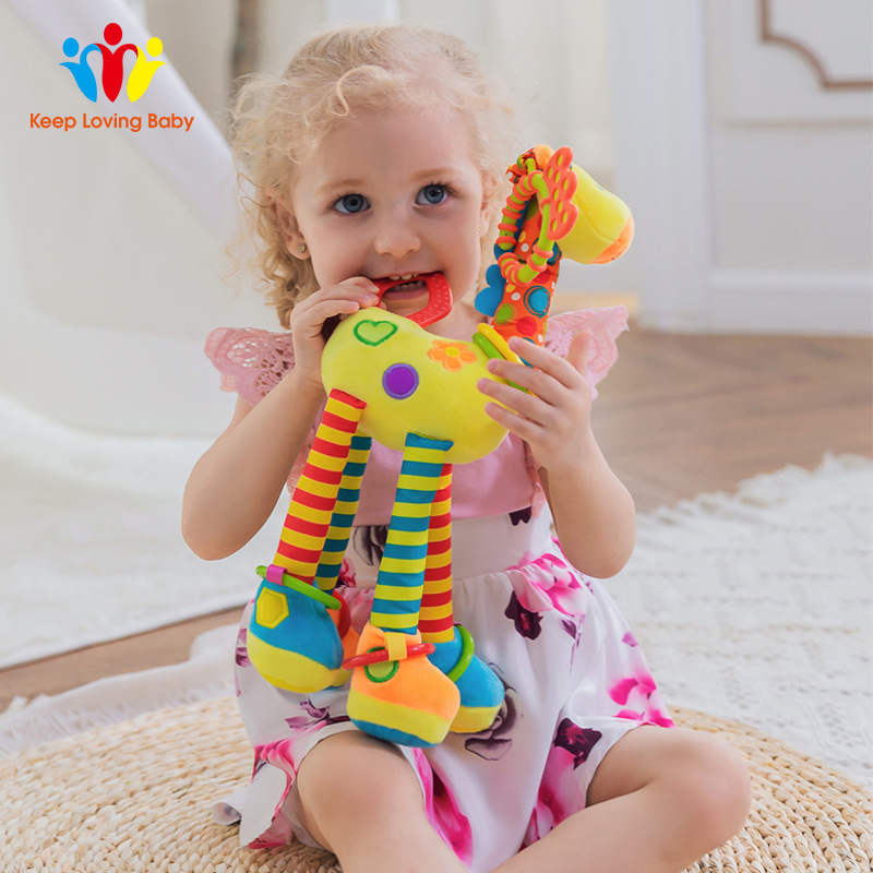 Infant Newborn Kids Toys Baby Cute Animals Hand Bells Rattles Mobile Stroller Plush Teether Toys Playing Doll Toys For Children
