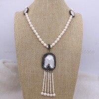 2 Strand Ręcznie Naturalne perły naszyjnik Wysokiej jakości Wisiorek perła naszyjnik gems biżuteria dla kobiet w Nowym stylu 2417