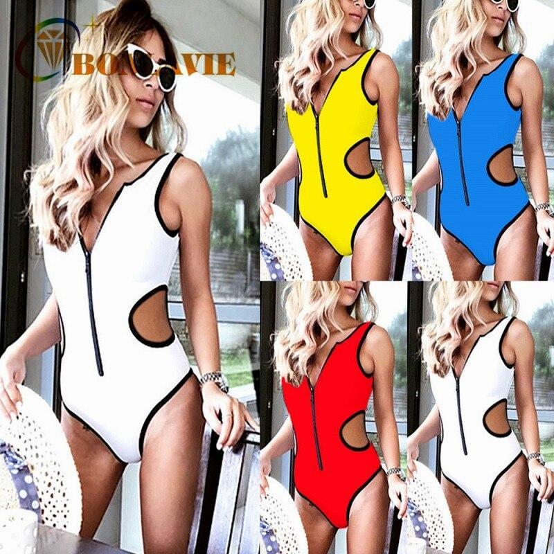 2018 One-piece Swimsuit New Sexy Zip Swimsuit Women Push Up Summer Beach Siamese Solid Swimwear Brazil Bikini Women Swimwear