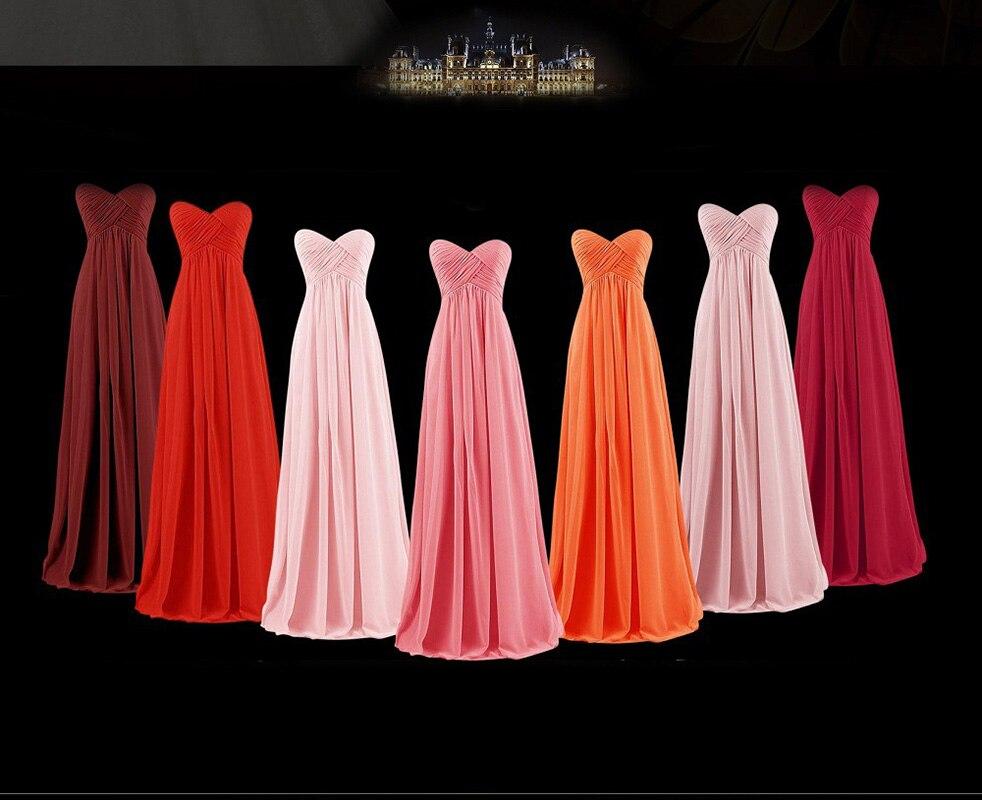 Stock Chiffon A Line Sweetheart Pleat Floor Length Bridesmaid Dresses Wedding Party Dresses  Robe De Soiree Zipper Back