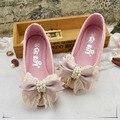 Couro genuíno palmilha 16-21 cm 2017 crianças novas crianças shoes para meninas de couro bowknot baby girl shoes primavera outono cs5004