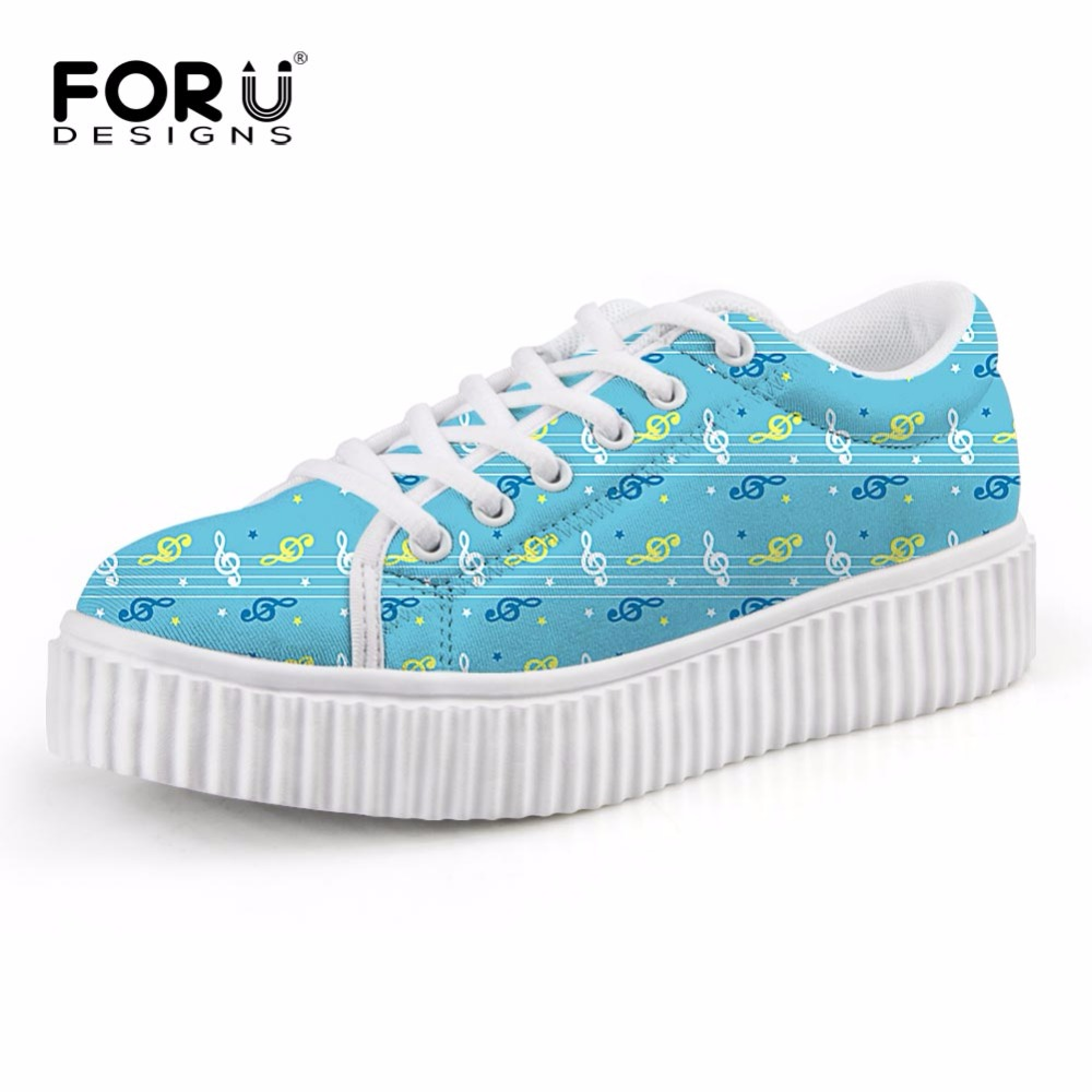 FORUDESIGNS Fashion Music Score Design Women Casual Flats Shoes Low Height Increasing Platform Shoes for Female Zapatos Mujer love for three oranges vocal score