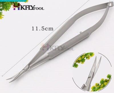Микроскопические инструменты 12,5 см Микро ножницы, конъюктива зубчатые, щипцы, датчики, крючки, лопатки, щипцы - Цвет: Stainless Bend