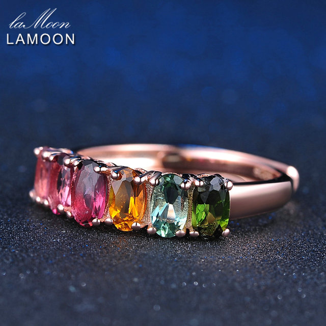 LAMOON 100% Real Natural 6pcs 1.5ct Oval Multi-color Tourmaline Ring 925 Sterlin