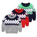 2016 roupas childern meninos outerwear Bebê meninas Geométrica camisola Do inverno Do Bebê quente grosso suéter 4-8 anos