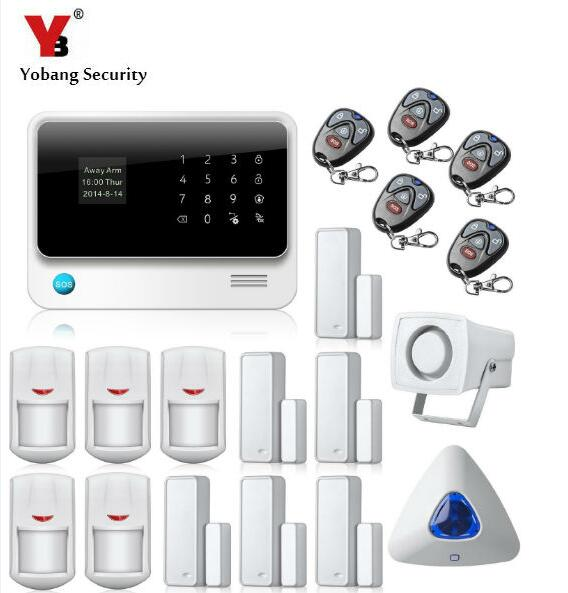 YobangSecurity Touch Screen GSM WiFi Alarm Systems Security Home Android IOS APP Remote Door Magnet Sensor Wireless Strobe Siren yobangsecurity gsm wifi burglar alarm system security home android ios app control wired siren pir door alarm sensor