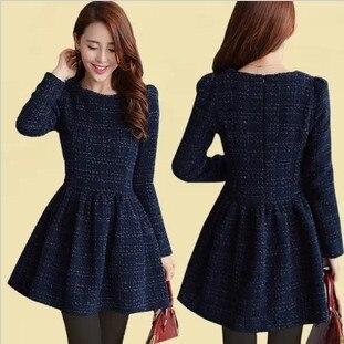 970076120d03 Tweed Dress 2017 Spring New Design Dress Long Sleeve Plaid Elegant Dress  Women Pleated Dress Blue Size S-XXL