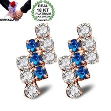 OMHXZJ Wholesale Personality Fashion OL Woman Girl Party Mixed Color Geometric Zircon  18KT Light Gold Hoop Earrings YE431