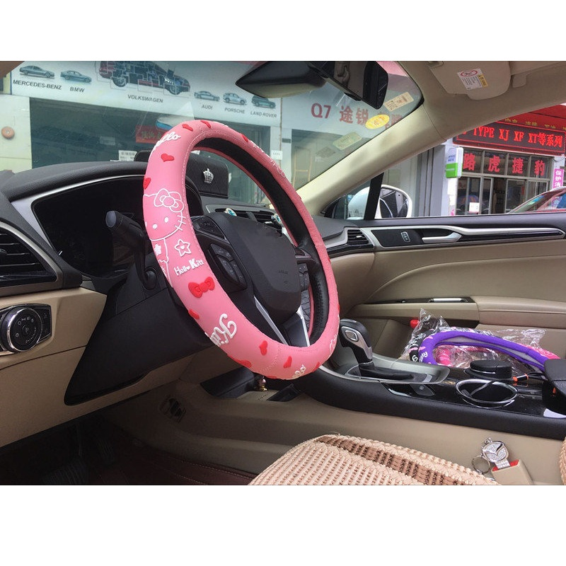 Hello Kitty Car Accessories Cartoon Steering-Wheel Cover For Auto Interior Decoration La ...