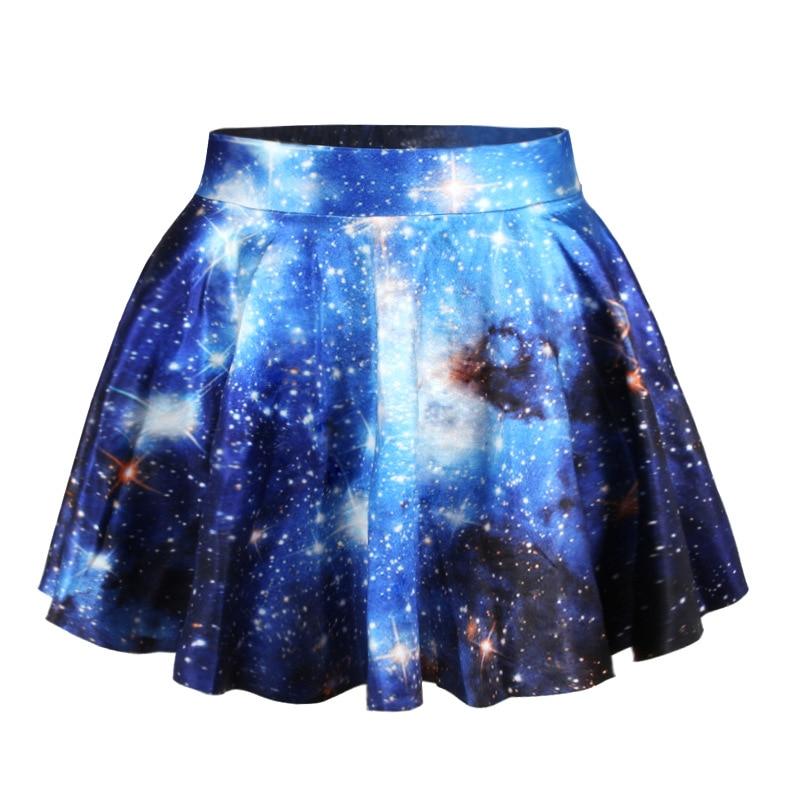 New Fashion 3D Galaxy Skirt Mini Summer Skirt Faldas Galaxy Women's Skirt Casual Pleated Skirts Wholesale