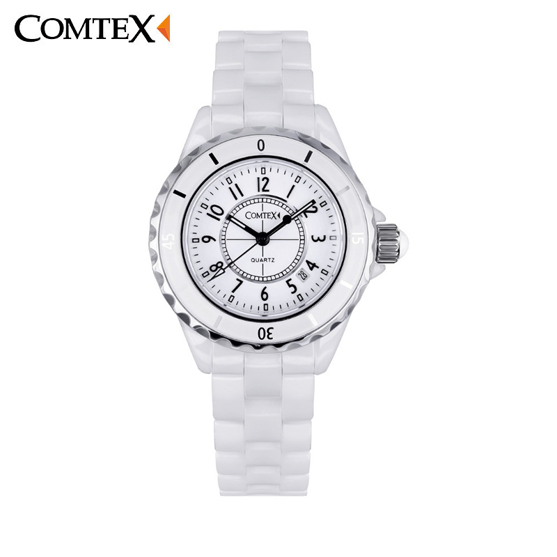 ФОТО COMTEX Fashion Women's Watches Ceramic Wrist Watch Analog Display Quartz Movement Calendar Waterproof Ceramic Watches S6291L-3