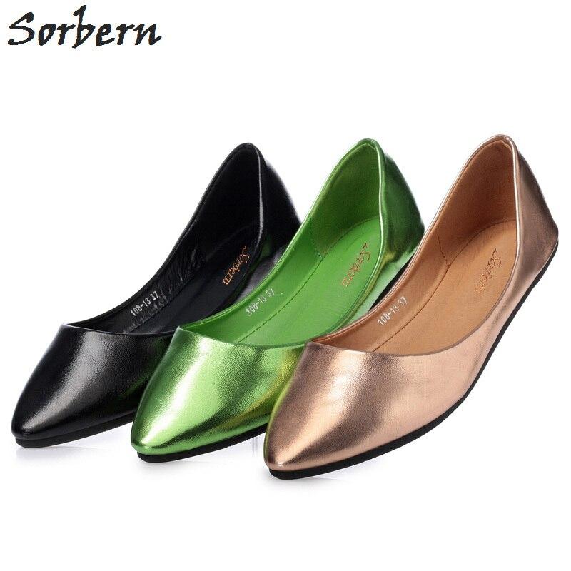 Sorbern Comfortable Soft Sole Flat Women Shoes Elder Womens Shoes Flats Woman Flat Shoes 2018 Slip On Pointed Toe Cute Shoes