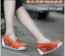 Женщины платформа обувь женщина натуральная кожа насос высокий подъём обувь женщины воловья кожа обувь 8017