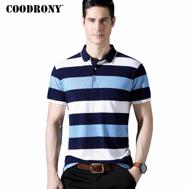 COODRONY 2018 Spring Summer New Arrival Short Sleeve T Shirt Men Business Casual Striped T-Shirt Mne's Cotton T Shirts Top S8608