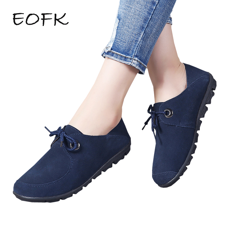 EOFK Women Flats Shoes Woman   Suede     Leather   Flat Shoes Lace up Women Ballet Flats Casual Moccasins Ladies Sneakers Female Shoe